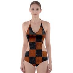 SQR1 BK MARBLE BURL Cut-Out One Piece Swimsuit