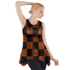 SQR1 BK MARBLE BURL Side Drop Tank Tunic