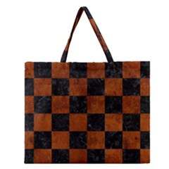 Square1 Black Marble & Brown Burl Wood Zipper Large Tote Bag