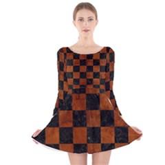 SQR1 BK MARBLE BURL Long Sleeve Velvet Skater Dress