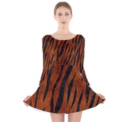 Skin3 Black Marble & Brown Burl Wood (r) Long Sleeve Velvet Skater Dress