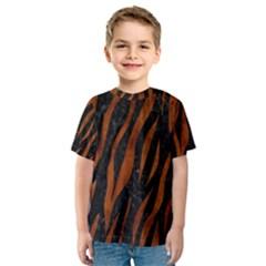 Skin3 Black Marble & Brown Burl Wood Kids  Sport Mesh Tee