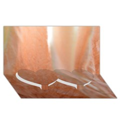 Floating Subdued Peach Twin Heart Bottom 3d Greeting Card (8x4)