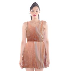 Floating Subdued Peach Scoop Neck Skater Dress