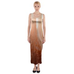 Floating Subdued Peach Fitted Maxi Dress