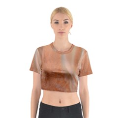 Floating Subdued Peach Cotton Crop Top