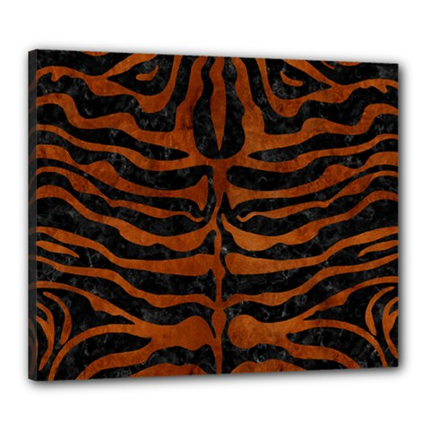 Skin2 Black Marble & Brown Burl Wood Canvas 24  X 20  (stretched)