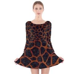 SKN1 BK MARBLE BURL (R) Long Sleeve Velvet Skater Dress