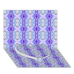 Light Blue Purple White Girly Pattern Heart Bottom 3d Greeting Card (7x5)