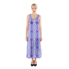Light Blue Purple White Girly Pattern Full Print Maxi Dress