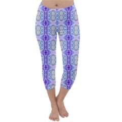 Light Blue Purple White Girly Pattern Capri Winter Leggings