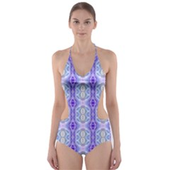Light Blue Purple White Girly Pattern Cut-Out One Piece Swimsuit
