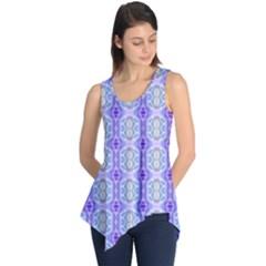 Light Blue Purple White Girly Pattern Sleeveless Tunic