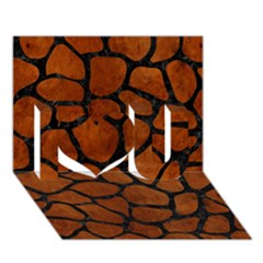 Skin1 Black Marble & Brown Burl Wood I Love You 3d Greeting Card (7x5)