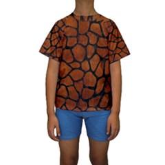 SKN1 BK MARBLE BURL Kid s Short Sleeve Swimwear