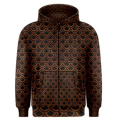 Scales2 Black Marble & Brown Burl Wood Men s Zipper Hoodie