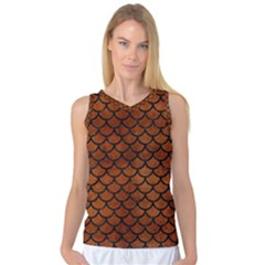 Scales1 Black Marble & Brown Burl Wood (r) Women s Basketball Tank Top