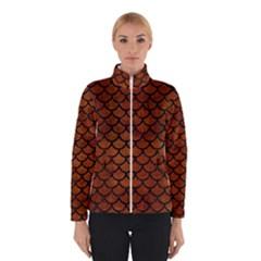 Scales1 Black Marble & Brown Burl Wood (r) Winter Jacket