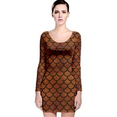 Scales1 Black Marble & Brown Burl Wood (r) Long Sleeve Velvet Bodycon Dress