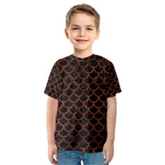 Scales1 Black Marble & Brown Burl Wood Kids  Sport Mesh Tee