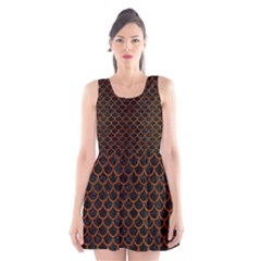 Scales1 Black Marble & Brown Burl Wood Scoop Neck Skater Dress