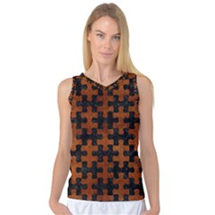 Puzzle1 Black Marble & Brown Burl Wood Women s Basketball Tank Top