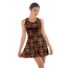 Puzzle1 Black Marble & Brown Burl Wood Cotton Racerback Dress
