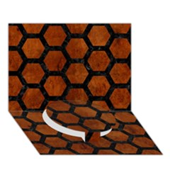Hexagon2 Black Marble & Brown Burl Wood (r) Circle Bottom 3d Greeting Card (7x5)