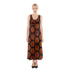 HXG2 BK MARBLE BURL (R) Full Print Maxi Dress