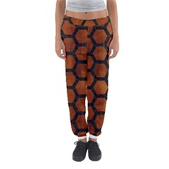 Hexagon2 Black Marble & Brown Burl Wood (r) Women s Jogger Sweatpants