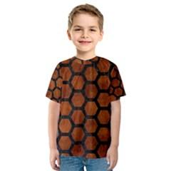 Hexagon2 Black Marble & Brown Burl Wood (r) Kids  Sport Mesh Tee