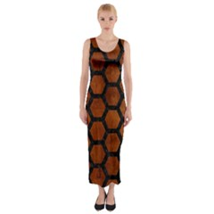Hexagon2 Black Marble & Brown Burl Wood (r) Fitted Maxi Dress
