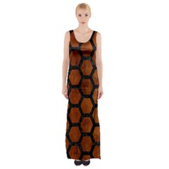 HXG2 BK MARBLE BURL (R) Maxi Thigh Split Dress