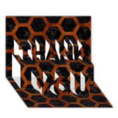 Hexagon2 Black Marble & Brown Burl Wood Thank You 3d Greeting Card (7x5)