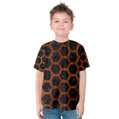 Hexagon2 Black Marble & Brown Burl Wood Kids  Cotton Tee