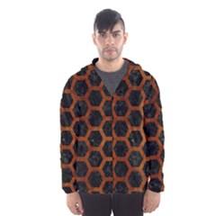 Hexagon2 Black Marble & Brown Burl Wood Hooded Wind Breaker (men)