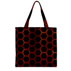 Hexagon2 Black Marble & Brown Burl Wood Zipper Grocery Tote Bag