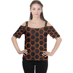 Hexagon2 Black Marble & Brown Burl Wood Cutout Shoulder Tee