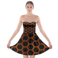 Hexagon2 Black Marble & Brown Burl Wood Strapless Bra Top Dress