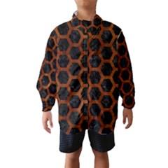 Hexagon2 Black Marble & Brown Burl Wood Wind Breaker (kids)