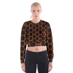 Hexagon2 Black Marble & Brown Burl Wood Cropped Sweatshirt
