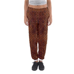 Hexagon1 Black Marble & Brown Burl Wood (r) Women s Jogger Sweatpants