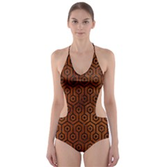 HXG1 BK MARBLE BURL (R) Cut-Out One Piece Swimsuit