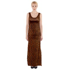 Hexagon1 Black Marble & Brown Burl Wood (r) Maxi Thigh Split Dress