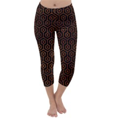 HXG1 BK MARBLE BURL Capri Winter Leggings