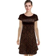 Hexagon1 Black Marble & Brown Burl Wood Cap Sleeve Nightdress