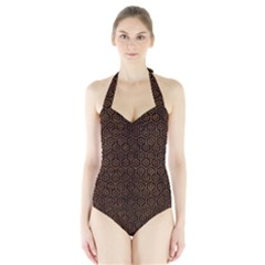 HXG1 BK MARBLE BURL Women s Halter One Piece Swimsuit
