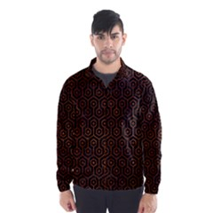 Hexagon1 Black Marble & Brown Burl Wood Wind Breaker (men)
