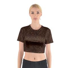 Hexagon1 Black Marble & Brown Burl Wood Cotton Crop Top
