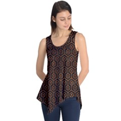 Hexagon1 Black Marble & Brown Burl Wood Sleeveless Tunic